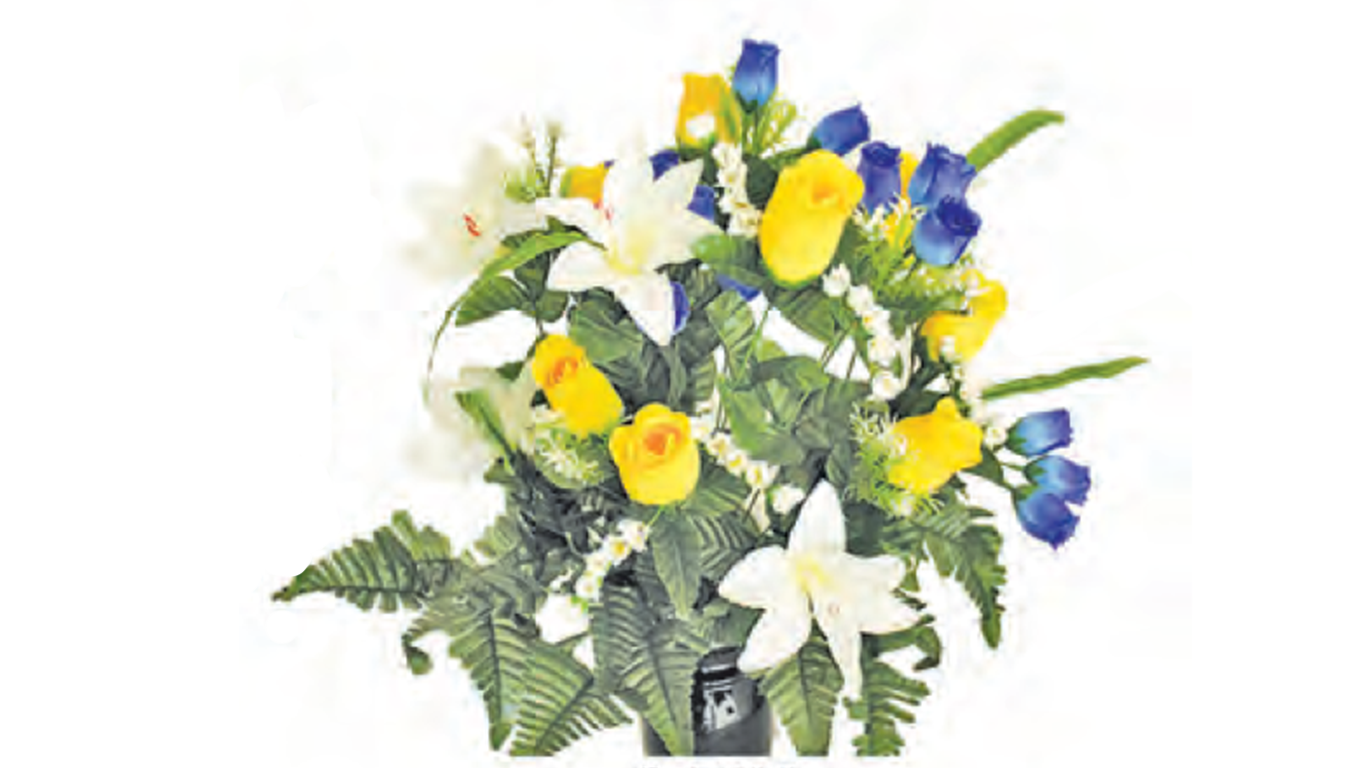 white yellow and blue floral arrangement